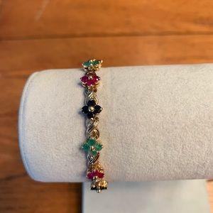 Estate Jewelry Ruby Emerald Sapphire Bracelet 14K